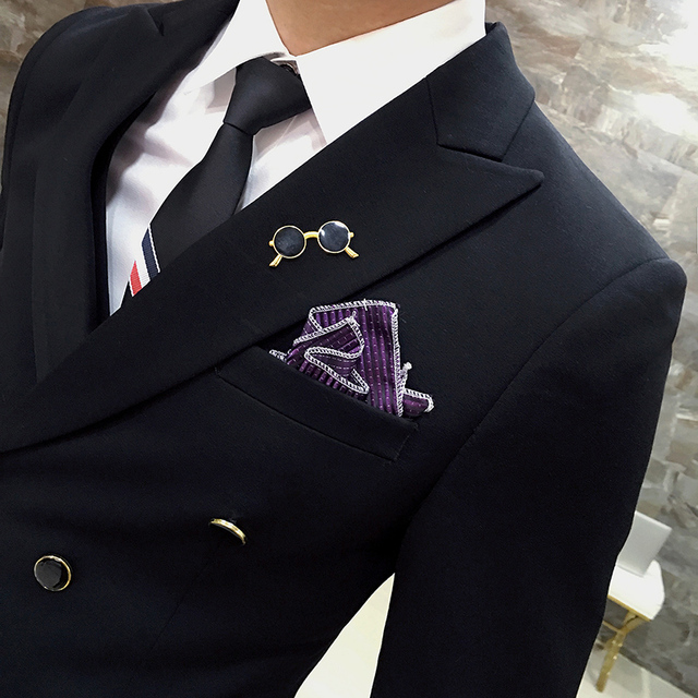 ( Jackets + Pants ) Solid Color Double Breasted Suit Groom Wedding Suits Men Dress Suit Dinner Party Prom Suit Formal Business