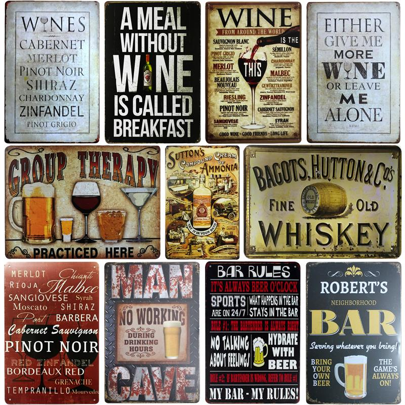 Retro Ice Cold Wine Beer Plaque Whiskey Metal Tin Signs Painting Poster Vintage Wall Art Sticker Pub Bar Home Casino Decor Yd063 Plaques & Signs