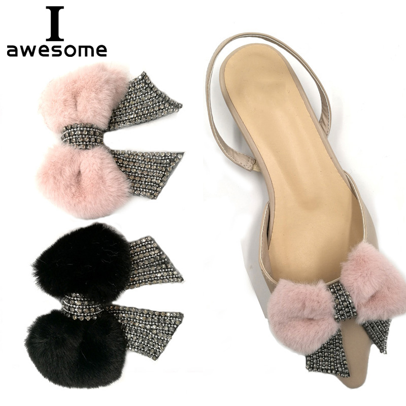 1pcs Bow Plush Bridal Wedding Party Shoes Accessories High Heels Sandals DIY Manual Rhinestone Shoe Decorations Shoe's Flower