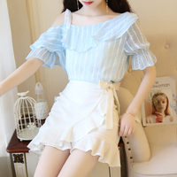 2018 Flare Sleeve Rushed Sweet, Super Fairy Suspenders, Chiffon Shirt, Two Pieces Of Girl's Heart, Fish Tail Suit, Short Skirt.