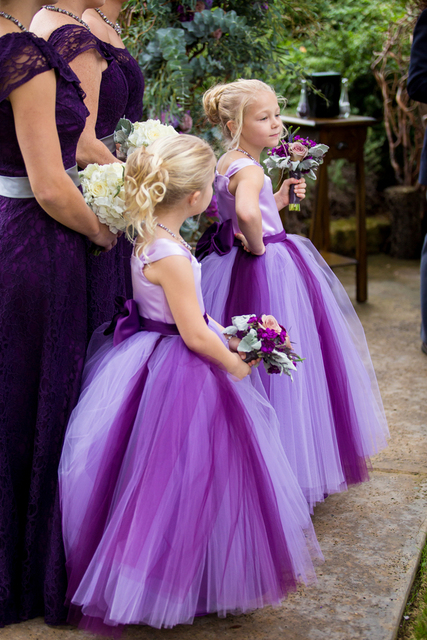 2017 Purple Flower Girl Dresses for Weddings Satin Bow Belt Puffy ...
