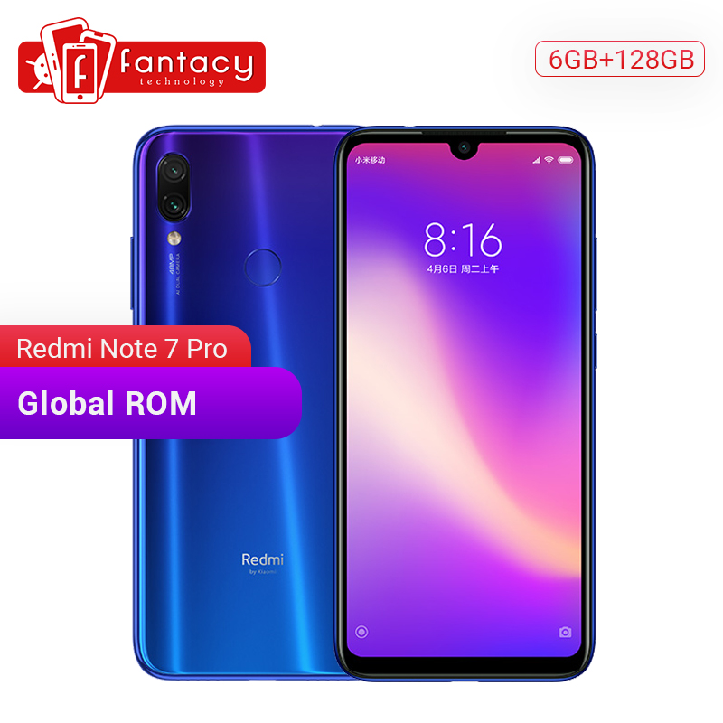 Global Rom Xiaomi Redmi Note 7 Pro 6GB 128GB 48MP IMX 586 Camera Snapdragon 675 Octa Core 6.3'' FHD Screen Mobile Phone QC 4.0