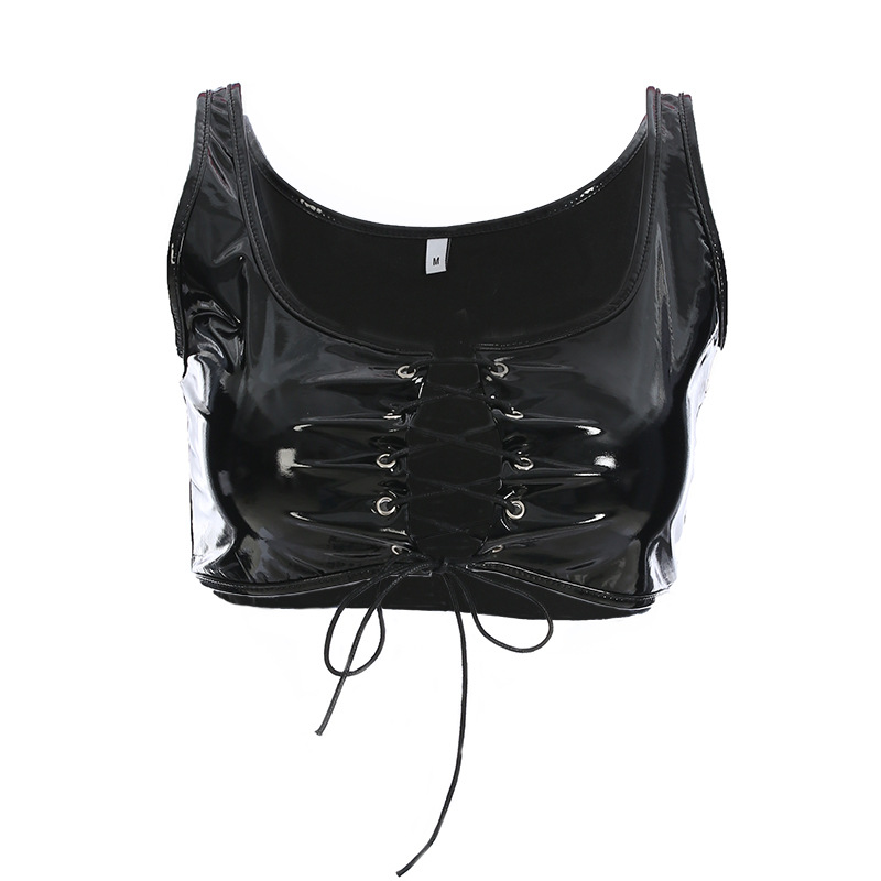 Focal20 Streetwear Front Lace Up Sexy   Tank     Top   Women Cropped Sleeveless Backless Summer Crop   Top   Feminina Camisole   Tops