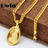 Mens Womens Stainless Steel Gold Holy God Virgin Mary Oval Medal Pendant With 24 Miami Cuban