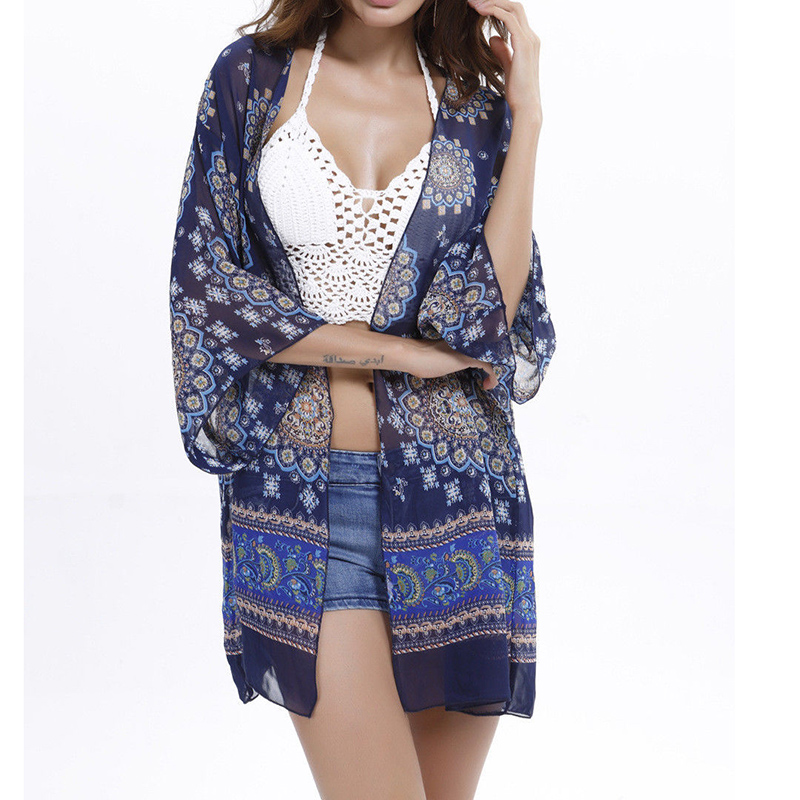 Hot Women Bikini Cover Ups Summer Shawl Kimono Cardigan Swimwear Beach Open Stitch Vintage Floral Print Holiday Kaftan Cover Up