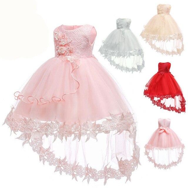 פרח תינוק בנות שמלת טבילת שמלות עבור בנות 1st שנה יום הולדת תחרה נגרר מסיבת חתונת הטבלה תינוק תינוקות בגדים