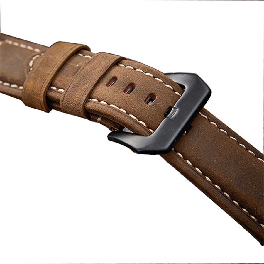 خمر حقيقية مجنون الحصان الجلود حزام (استيك) ساعة حزام الفضة الأسود المشبك 20 مللي متر 22 مللي متر 24 مللي متر 26 مللي متر مربط الساعة هدية