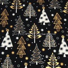 105*50cm 1pc Christmas fabric 100%Cotton Fabric Telas Patchwork Gold Christmas Tree Printed Sewing Fabric Material Diy Clothes