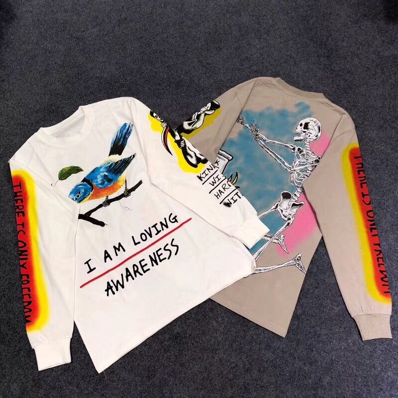 Hip hop streetwear Kanye West Enfants Voir crâne Fantômes t-shirt graffiti à manches longues tee 4 versions