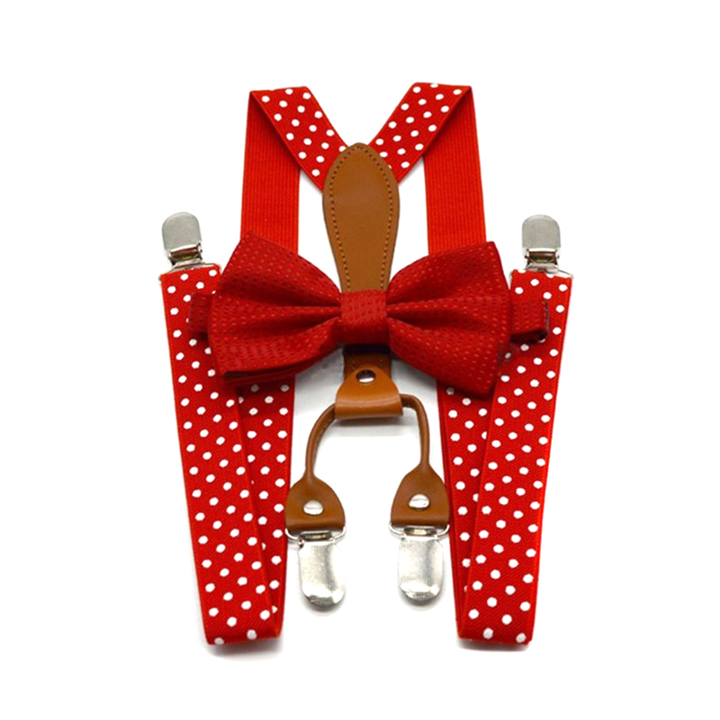 Men Women Polka Dot Tie Suspenders 4 Clips Leather Suspensorio Braces QL Sale