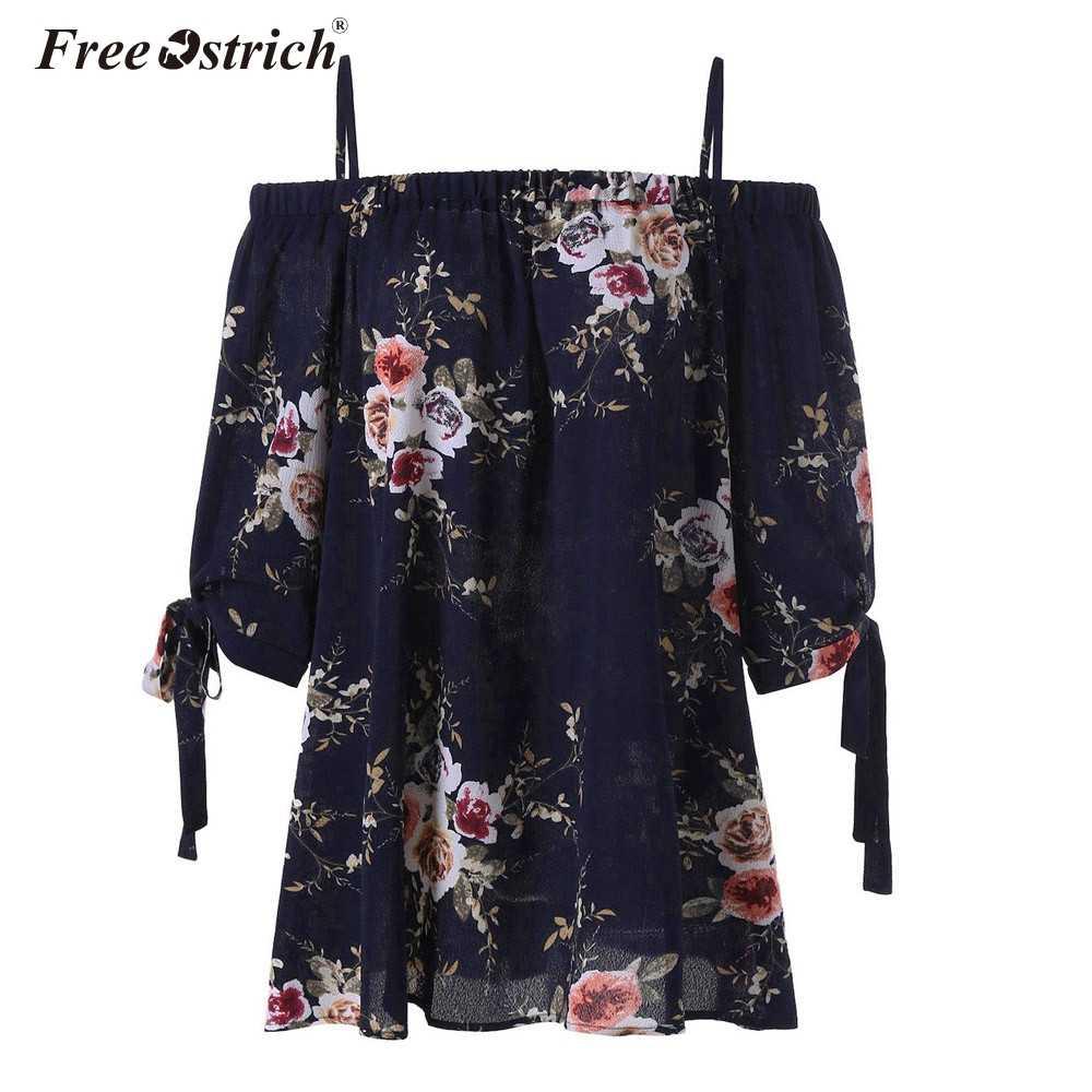 Бесплатная Страусиная плюс размер 4XL 5XL топ с открытыми плечами Женская одежда с цветочным принтом шифоновая Повседневная Блузка с открытыми плечами