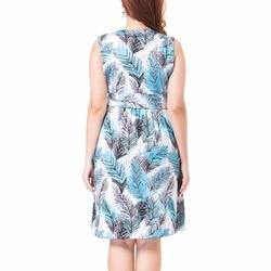 Summer New Flower Print Sleeveless Dress Women Empire Fit and Flare Dresses Plus Size L-3XL Fashion Vestidos Femme 5