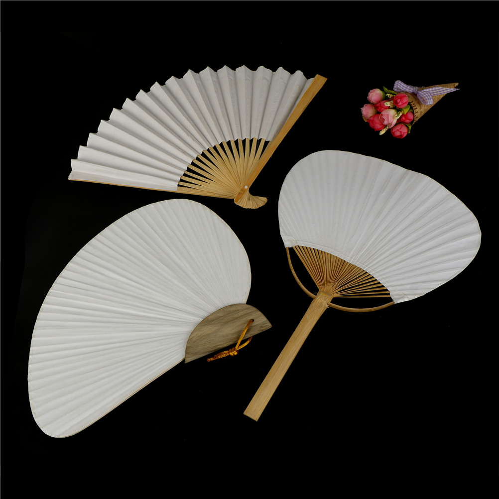 1/5pcs 8Styles Wedding Party Favors Paper Fans White Folding Elegant Paper Hand Fan For Home Decoration