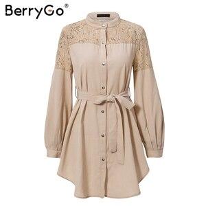 Image 4 - Женское кружевное платье рубашка BerryGo, однотонное Сетчатое офисное платье с вышивкой, длинными рукавами и пуговицами, Летнее мини платье с поясом
