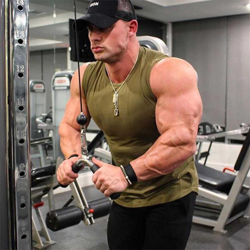 رجل ضغط سترة كمال الاجسام أكمام ضيق قميص اللياقة البدنية رجل فارغة خزان أعلى تجريب القطن العضلات Tanktop صالات رياضية Cothing