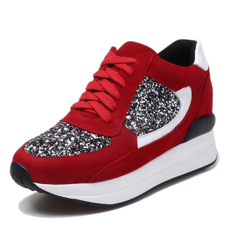 Female Shoes Genuine Leather Casual Shoes Women Height Increasing Wedge Shoes Platform Walking Shoes Trainers Chaussure XK102413 eyeholes 2016 paillette shoes female genuine leather platform casual shoes sequins glittle eyelashes eyes white shoes