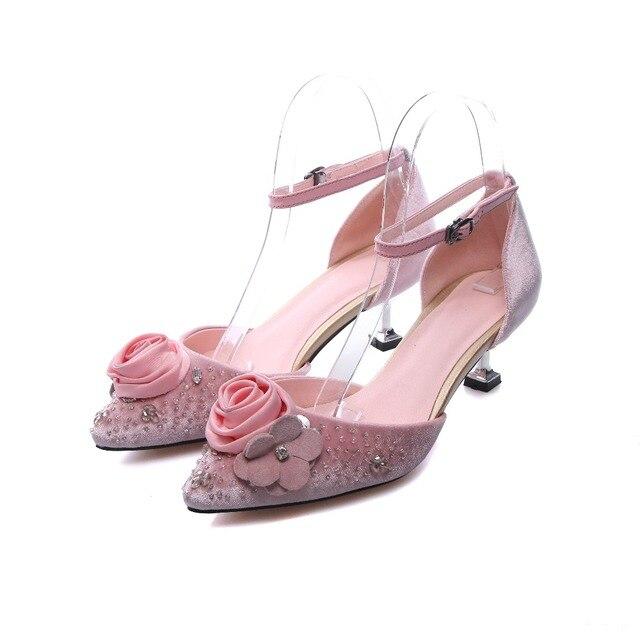 2017 pink sandals for women genuine leather flower pumps 5 cm high 2017 pink sandals for women genuine leather flower pumps 5 cm high heels summer sexy wedding mightylinksfo Gallery