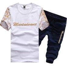 Sommer männlichen feinem buchstaben gedruckt stretch freizeit kurzarm T-shirts + shorts Mens casual bewegung anzüge Sets