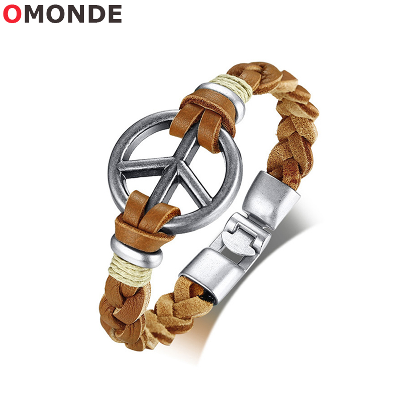 OMONDE 21.5cm Men Brown Genuine Leather Bracelets & Bangles for Male Female Peace Charms Braslet Vintage No War Fine Jewelry