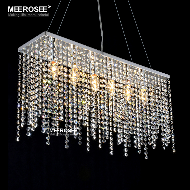 Crystal Pendant Light Fixture Rectangle Crystal Light For Restaurant Modern Hanging Suspension Lustres Drop Lamp Home