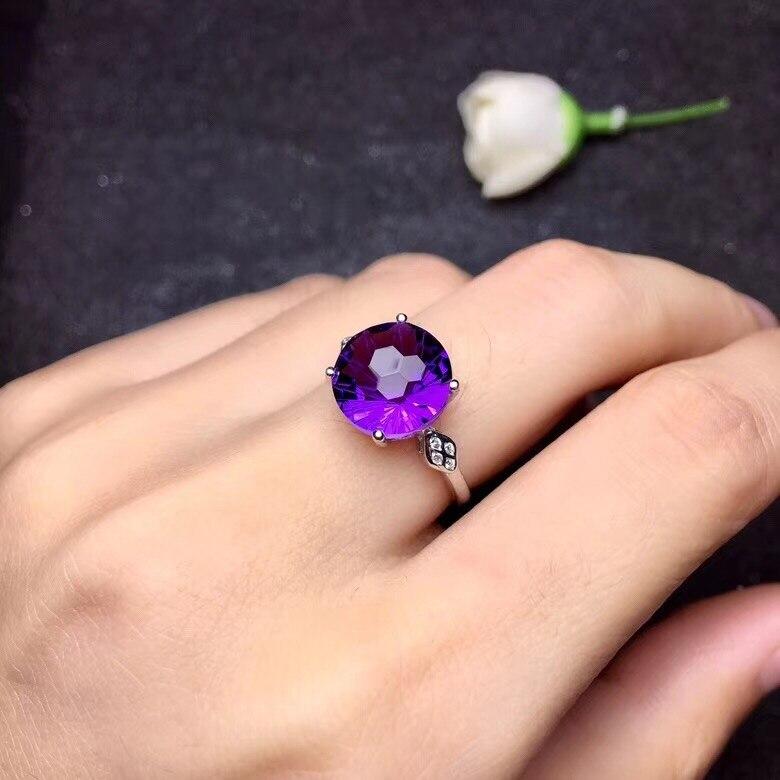 Uloveido Naturel Améthyste Bague Solitaire, 925 En Argent Sterling, 10*10mm Certifié Ronde Pierre Gemme Pourpre bijoux de mariage FJ219
