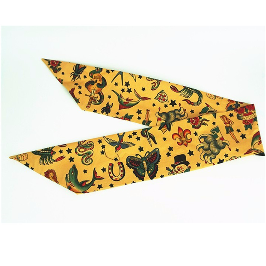 women vintage 50s yellow pirate mermaid print bow headband rockabilly pinup  style bandans hair scarf wire 79d06d09396c