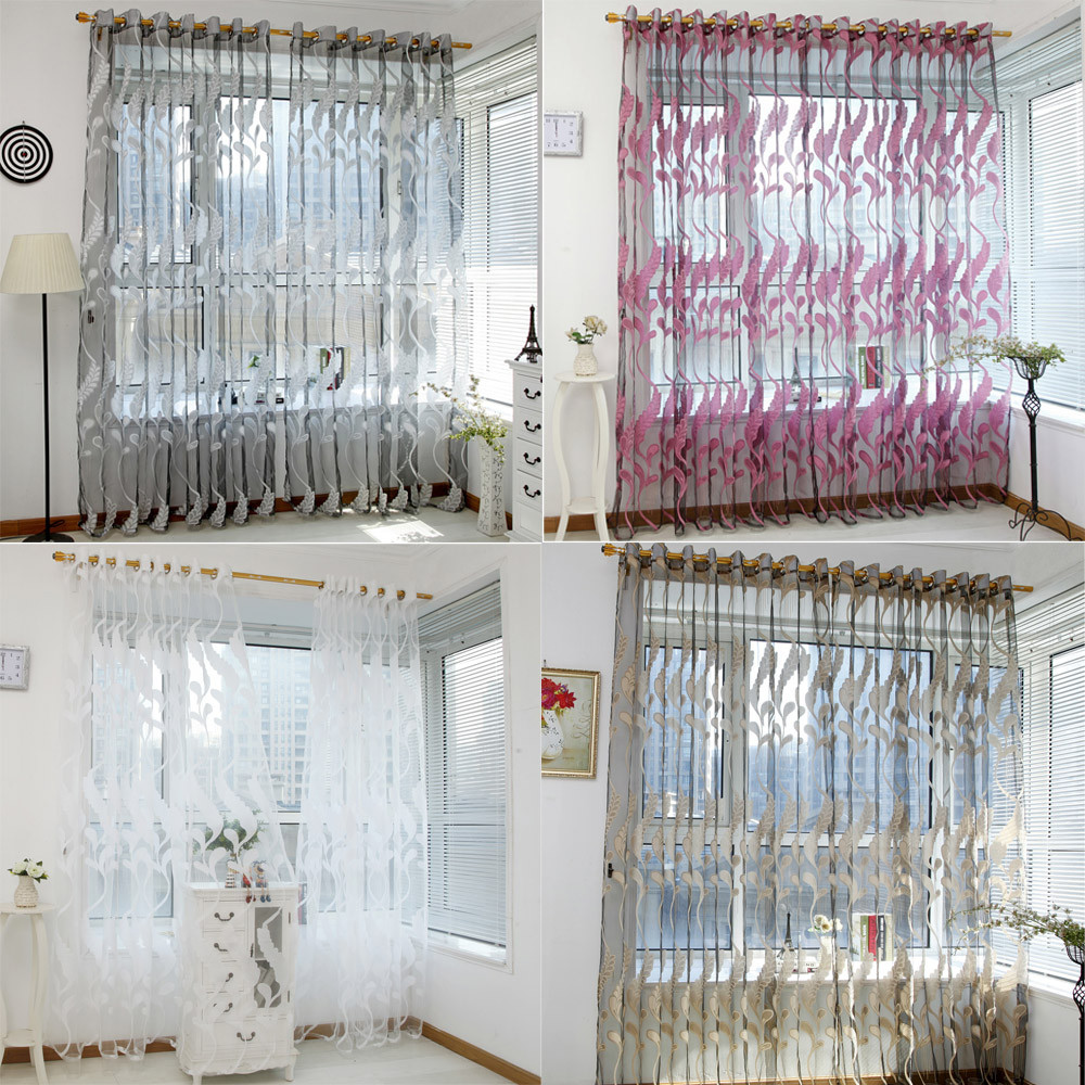 Wheat Sheer Curtain Tulle Window Treatment Voile Drape Valance 1 Panel Fabric Home Decor Cut flower Wheat ears curtains 0201