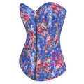 Women Ribbon Lacing Blue Denim Zipper Corset Jeans Tops Female Vintage Floral Bustier Corselet Overbust Push Up Corsets Basques