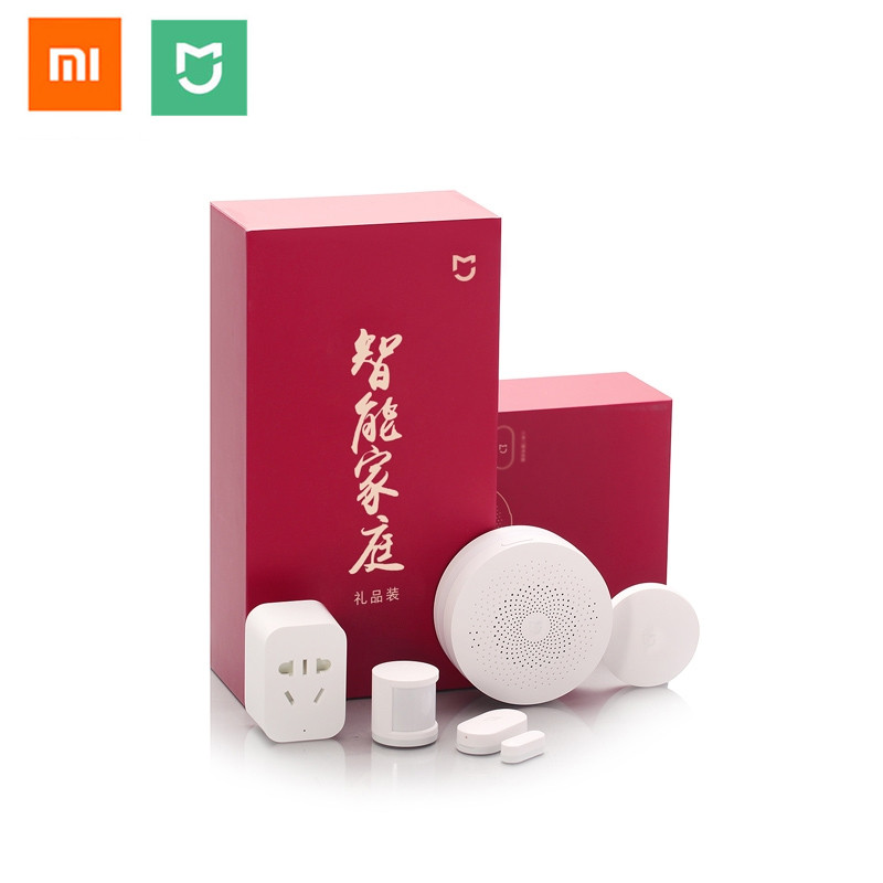 Kits maison intelligente Xiaomi 6 en 1, passerelle, capteur de fenêtre de porte, capteur de corps, commutateur sans fil, prise intelligente Zigbee, avec emballage cadeau