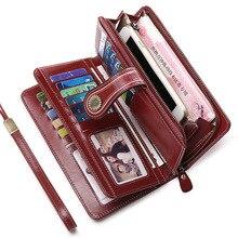 women's wallet female Genuine leather 2020 women wallets Clutch Split Leather portafoglio donna Long Zipper Purses portfel damsk