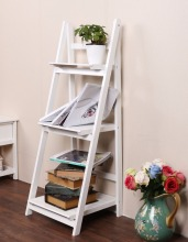 Homdox 3 Tier Bookshelf Wood Ladder Standing Shelves Bookcase Storage Stand Newspaper And Magazine Racks N2525