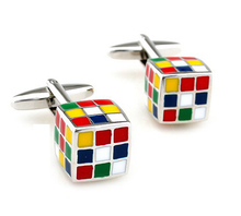 iGame Factory Price Retail Novelty Cufflinks Muti-color Brass Material 3D Magic Cube Design Cuff Links