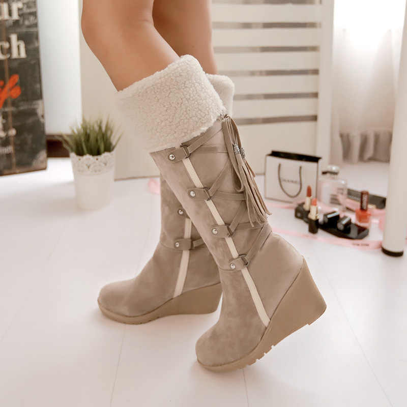ผู้หญิงฤดูหนาวสูงรองเท้า Plus ขนาด 43 ผู้หญิงกลางลูกวัวรองเท้าบูทอบอุ่นรองเท้าหนังนิ่มรองเท้าบูทแฟชั่น Cross -ผูกรองเท้าผู้หญิง