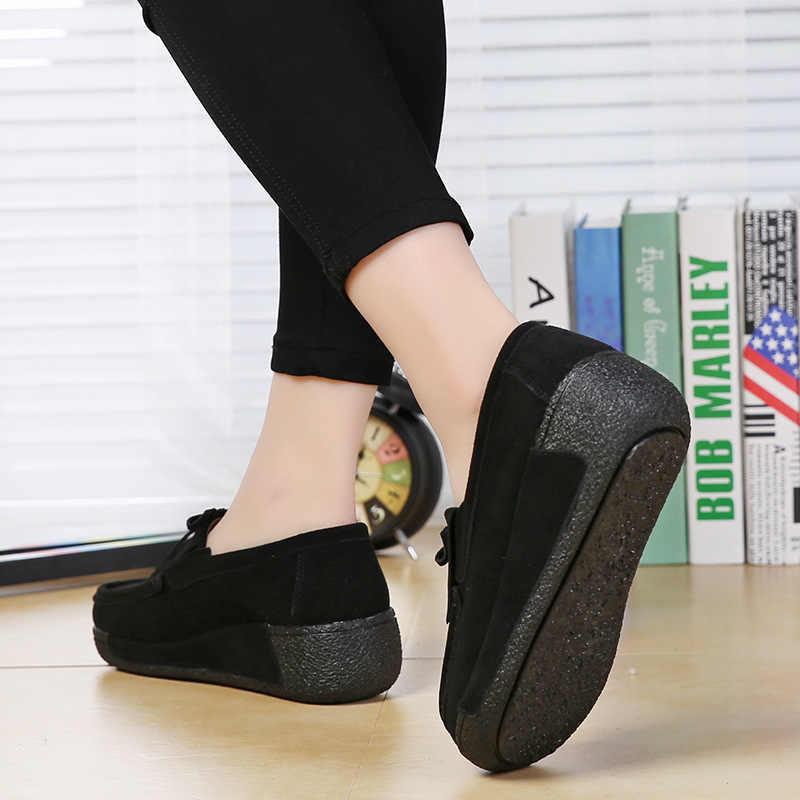 Lente platte Schoenen Vrouwen Platform Sneakers vrouwen Mocassins Schoenen Lederen Slip Op Flats Casual Dames Loafers Kwastje Creeper jkm8
