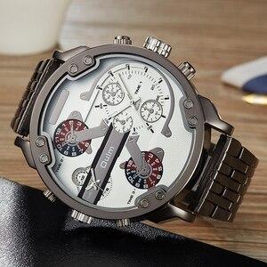 Image 2 - Oulm przesadzone duże duże zegarki na rękę mężczyźni luksusowa marka unikalny projektant kwarcowy zegarek męski ciężki pełny stalowy skórzany pasek Wrist Watch