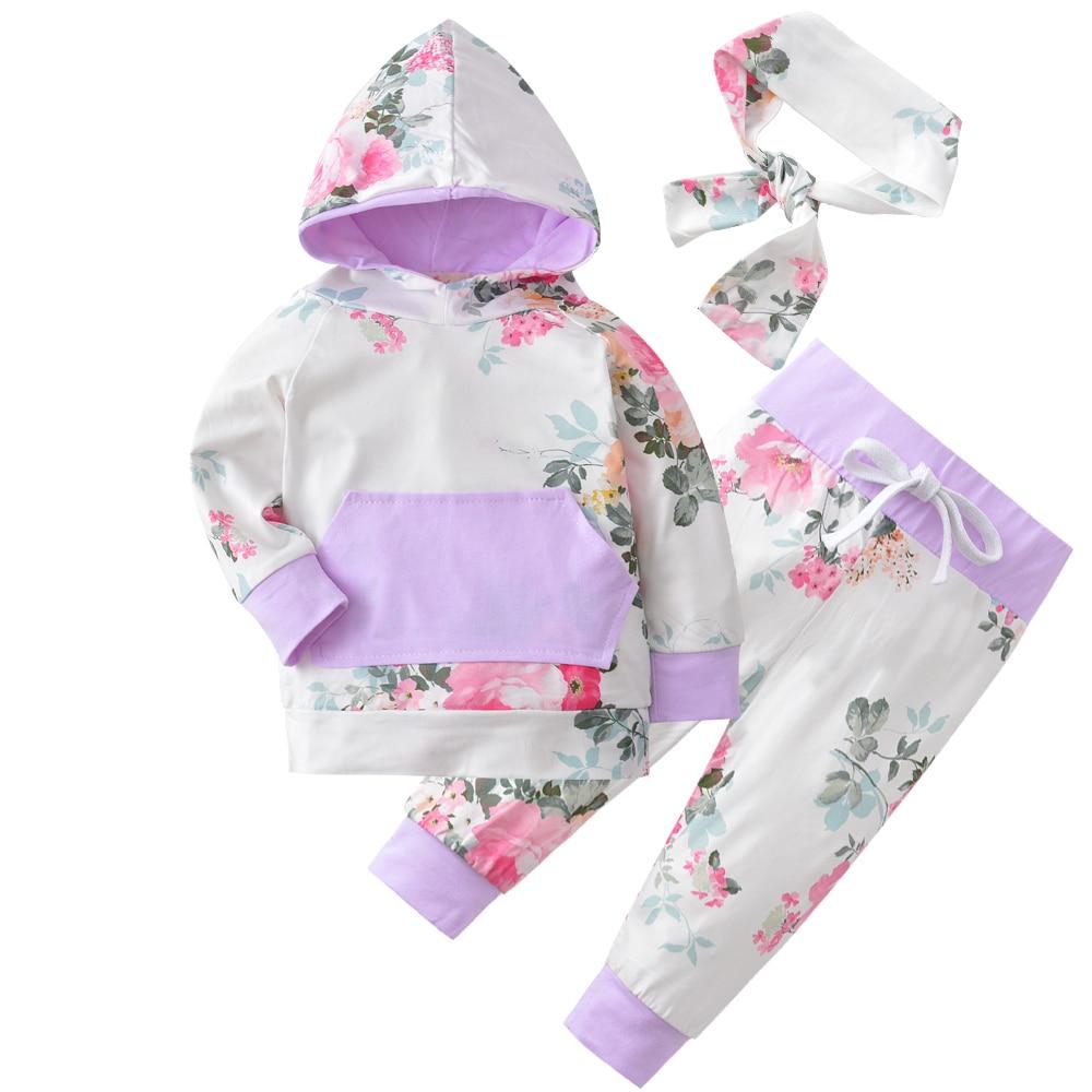 2018 Automne Style Infantile Vêtements Bébé Ensembles de Vêtements Nouveau-Né Bébé Garçon Fille Vêtements À Capuchon Tops + Pantalon Long Leggings 2 pcs Tenues