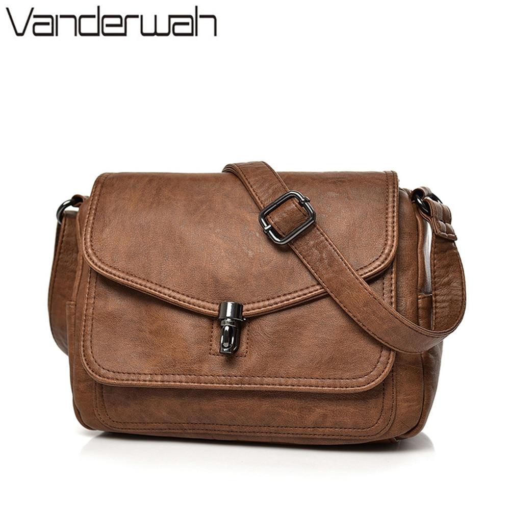 VANDERWAH Two covers vintage women bag 2018 leather luxury handbags women bags designer female small messenger Shoulder Bag Flap цены онлайн