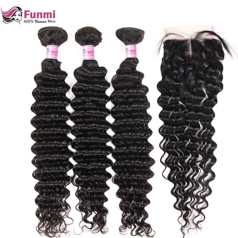 Brazilian Virgin Hair Deep Wave Bundles with Closure 4PCS LOT Unprocessed Human Hair Bundls with Closure