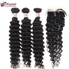 Бразильские виргинские волосы глубокая волна пучки с закрытием 4 шт много необработанные человеческие волосы в комплекте с закрытием наращивание волос funmi