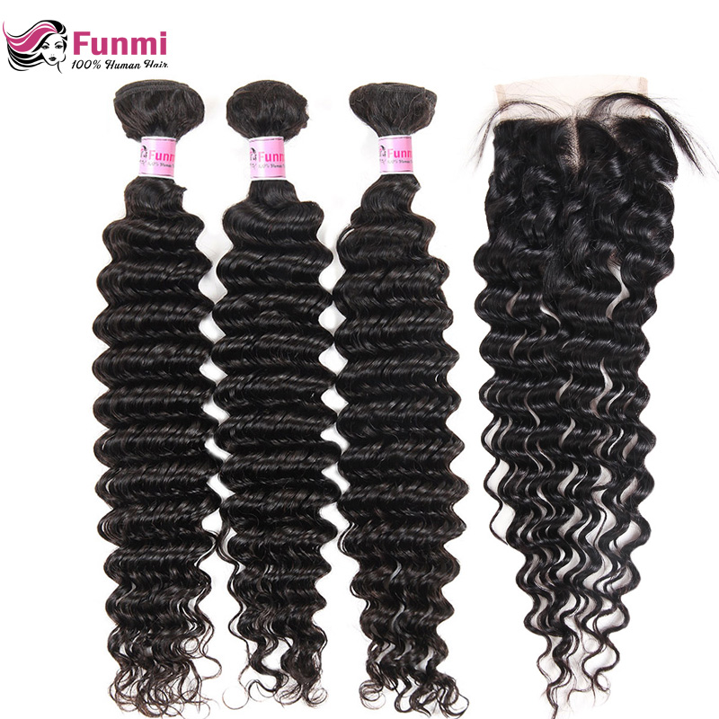 Brazilian Virgin Hair Deep Wave Bundles With Closure 4PCS LOT Unprocessed Human Hair Bundls With Closure Funmi Hair Extensions