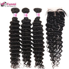 Brazilian Virgin Hair Deep Wave Bundles with Closure 4PCS LOT Unprocessed Human Hair Bundls with Closure Funmi Hair Extensions(China)