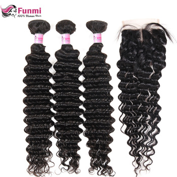 Brazilian Virgin Hair Deep Wave Bundles with Closure 4PCS LOT Unprocessed Human Hair Bundls with Closure Funmi Hair Extensions