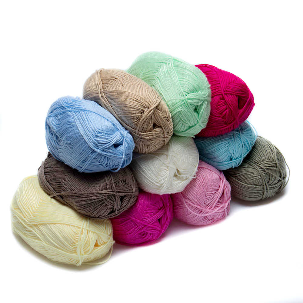 Hot 1Pc Wholesale Popular Colors Super Soft Natural Smooth Bamboo Cotton Knitting Wool Yarn Home Art Sewing Supplies Accessories