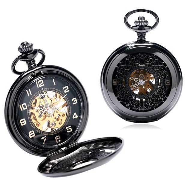 Winding Mechanical Vintage Black Classic Black Watches