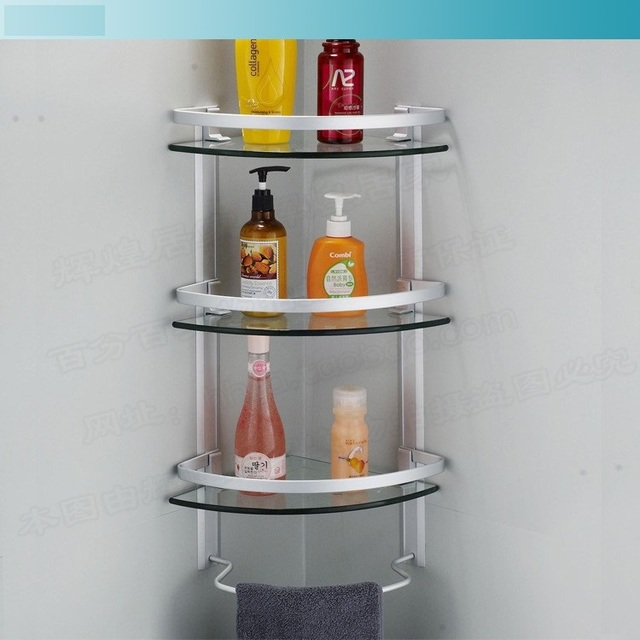 aluminum 3 tier glass shelf shower holder bathroom accessories corner shelves for storage wall mount