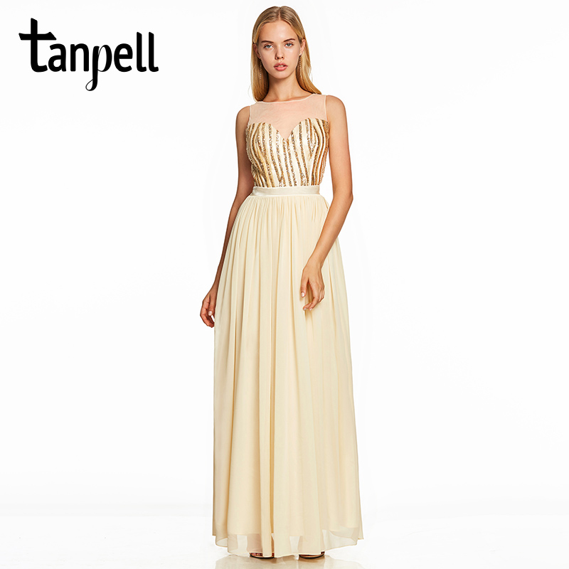 Tanpell sequins long   prom     dress   daffodil scoop neck floor length a line gown women sleeveless wedding party formal   prom     dresses