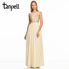 Tanpell sequins long prom dress daffodil scoop neck floor length a line gown women sleeveless wedding party formal prom dresses purple sequins embellished lacerna scoop neck dresses