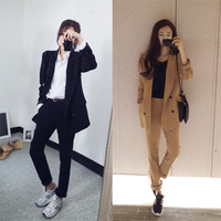 New Korean version of the wild fashion loose double breasted small suit jacket Harlan pants two sets of female tide