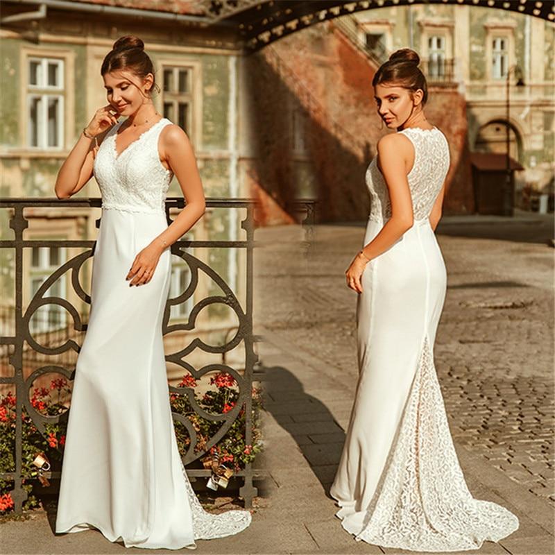 Mermaid Wedding Dress 2019 Lace V Neck Bridal Gown Beach Chiffon Vestido De Noiva Customize Wedding Dresses