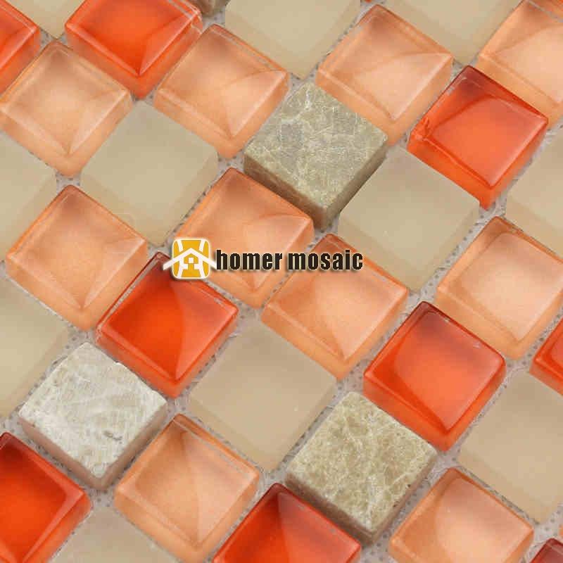 orange color crystal glass mixed marble stone mosaic tiles kitchen backsplash bathroom shower tiles fireplace wall